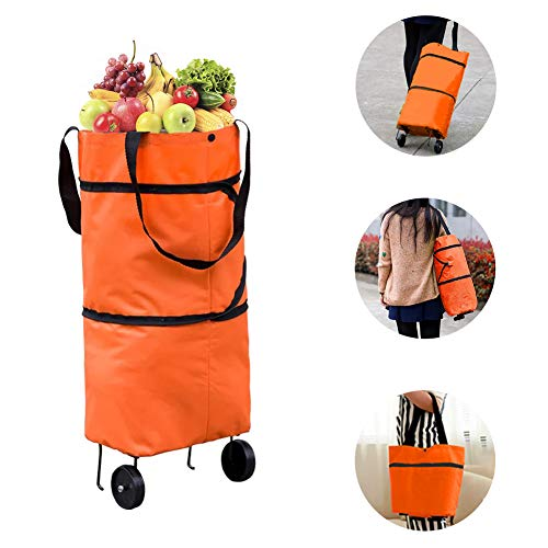 Reusable Grocery Trolley Shopping Bags - Foldable Eco Portable Tote Grocery Bags With Wheels(100% return guarantee),Large Collapsible Heavy Duty Shopping Bag For Woman(Orange Color)
