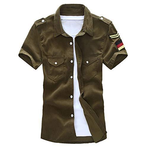 New face Men Denim Shirt Fashion Summer Style Short Sleeve Casual Shirt Slim Quality Cotton Camisa Social Masculina,Army Green,L