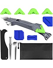 ERKOON 13PCS Silicone Caulking Tool Kit, 5 in 1 Caulk Finishing Tool Sealant Caulk Grout Scraper Sealant Removal Tool Nozzle Applicator with Storage Bag for Kitchen Bathroom Window Sink Joint