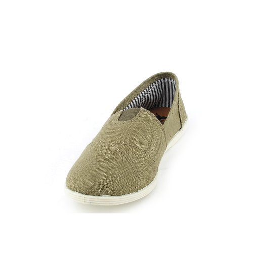 Shiekh Womens Object-S Casual Flat Olive Green Linen
