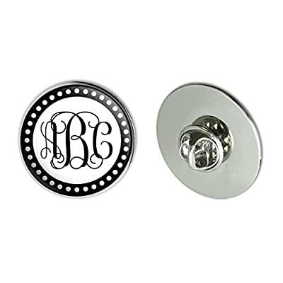 "Graphics and More Personalized Custom 1.1"" Diameter Metal Tie Tack Hat Lapel Pin Pinback - Monogram Fancy Font Scalloped Outline"