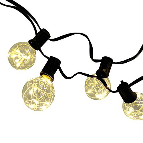 LED Globe String with 25 Globe Bulbs AC100-240V, Output 12V Warm White Garden Hanging String Lights Vintage Backyard Patio Lights SL-lan