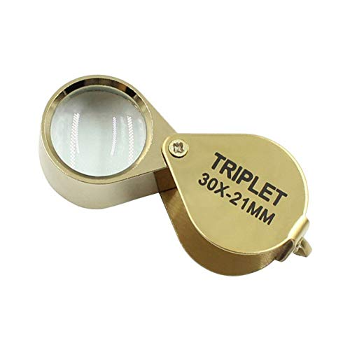 Magnifying Glass - 30x Power 21mm Jewelers Magnifier Gold Eye Loupe Jewelry Store Lowest Magnifying Glass With - Quality Jeweler X100 Toddler 1928 Travel Mini Explorer Under Card Light D