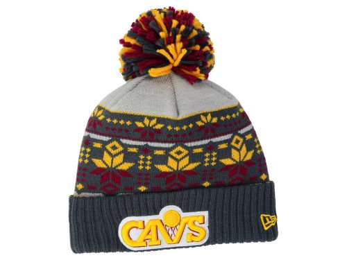 New Era Cleveland Cavaliers Adult Cuff Knit Beanie w/ Pom One Size OSFA NBA Authentic Hat Cap - Snowflake Pattern Graphite Gray / Maroon / Gold