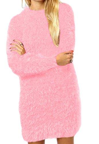 Girocollo Partito Mini Rosa Elegante Bodycon Forma Domple Sottile Abito Pianura Donne In Delle pprPOqf
