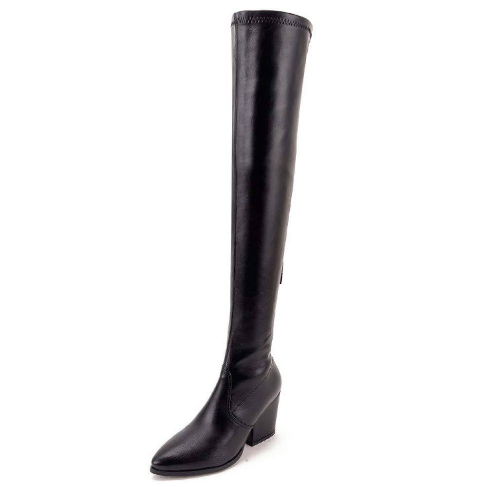 Womens Sexy Over The Knee Thigh High Ladies Stretch Block Heel Mid Heel Boots,BlackPUEU 36=6.0B(M) US