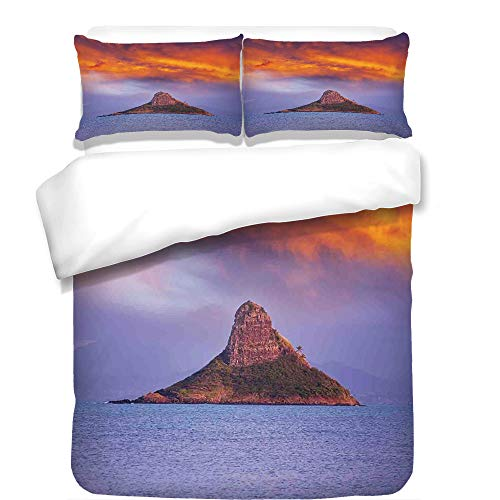 iPrint Duvet Cover Set,Hawaiian,Hawaii Deserted Island in Ocean with Mountain Trees Cloudy Photography Print,Orange Purple,Best Bedding Gifts for Family Or Friends by iPrint