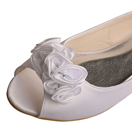 Mw759 Wedopus Blanco nbsp;mujer Boda Plano Novia Ballet Peep Zapatos Toe Flor De fddr1ax