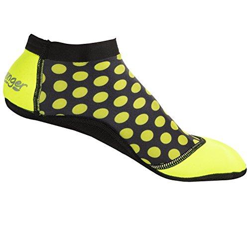 (Seavenger SeaSnugs | Low Sand Socks for Beach Volleyball, Soccer, Snorkeling & Watersports (Yellow-Green Dots,)