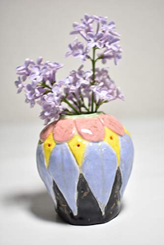 Vessel, planter, incense holder flower petals with leaves