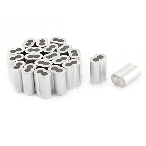 uxcell Aluminum Sleeve for 1/8 Inch Steel Wire Rope Swage Clip 20pcs