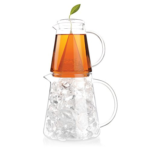 Tea Forte TEA OVER ICE Steeping Tea Pitcher Set with 5 Iced Tea Infusers