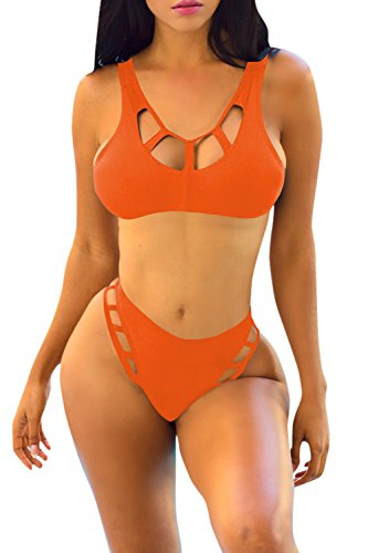Veroge Women's Tie Back Push up Pad Strappy Cheeky Bikini Swimming Suit Orange M by Veroge