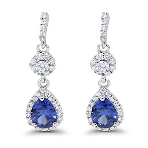 - Halo Teardrop Bridal Dangle & Drop Earrings Pear Round Cubic Zirconia 925 Sterling Simulated Blue Sapphire