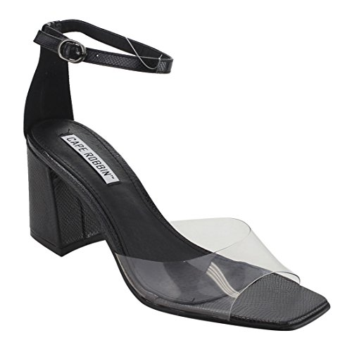 Cape Robbin Fg26 Womens Clear Single Band Enkelbandje Blokhak Sandalen Zwart