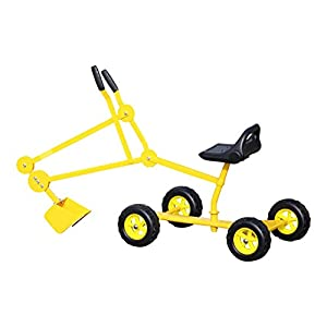 Sand Digger Toy Backhoe With Wheels Dig in Sand, Beach, Snow, Dirt. A Kid's Outdoor Ride on Toy for Ages 4-12 (Yellow)