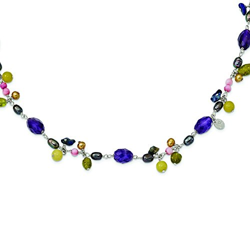 8mm Sterling Silver Fwcultpearl(prple and Gold) Amy Yw Avent Jade Lapis Peridot Necklace - 54 Inch by JewelryWeb