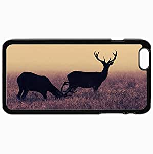 Personalized Protective Hardshell Back Hardcover For iPhone 6 Plus, Deer Frost Grass Design In Black Case Color