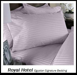 Royal Hotel's Striped Lilac 300-Thread-Count 4pc Olympic Queen Bed Sheet Set 100-Percent Egyptian Cotton, Sateen Striped, Deep Pocket, 100% Cotton