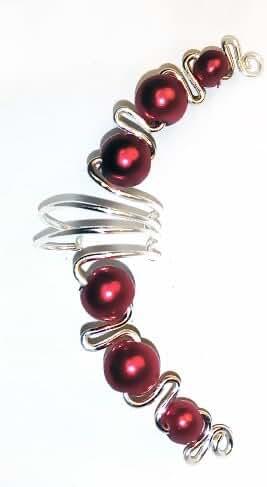 Jasmine Ruby Red Ear Cuff Wrap Earring Fake Cartilage Piercings, Clip on Earring Handmade in USA