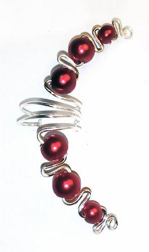 Cuff Jasmine (Jasmine Ruby Red Ear Cuff Wrap Earring Fake Cartilage Piercings, Clip on Earring Handmade in USA)
