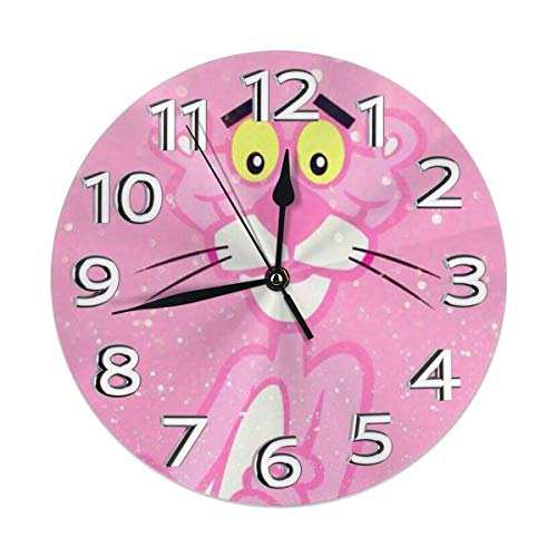 (YZMZB Silent Non Ticking Decorative Round Wall Clock, Pink Panther Chic Style, Arabic Numerals Home Wall)
