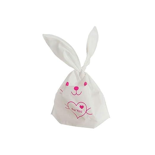 Ruiting Bolsas de Regalo de Conejo,Bolsas de Galletas Dulce Piscolabis Cookies Caramelo Bolsas de Plástico para Regalo Cumpleaños y La Pascua 50pcs ...