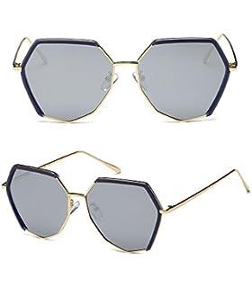 Lunettes de soleil CHTIT Miroir Homme Femme Ronde Style de yeux de chat Diamant # TSGL293 (or-noir) TXeoAkZ