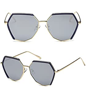 Lunettes de soleil CHTIT Miroir Homme Femme Ronde Style de yeux de chat Diamant # TSGL293 (or-noir)