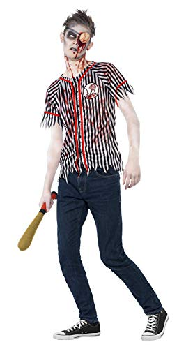 Smiffy's Men's Petite Zombie Baseball Player Costume, Black & White, S Teen Boy - Age -