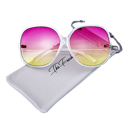 Halloween Contacts Prescription (The Fresh New Women's Vintage Style XL Oversized Jackie O Frame Ocean Colored Lens Sunglasses with Gift Box (1-Crystal, Purple-Yellow))