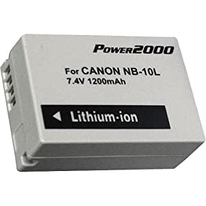 Power2000 1200Mah Lithium Battery Replacement For Canon NB-10L Battery (For Canon G15, G16, SX40 HS, SX50 HS, and SX60 HS Digital Cameras)