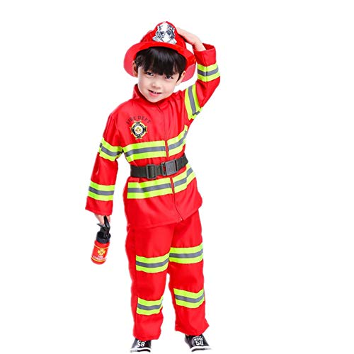Proumhang Disfraz de Jefe de Bomberos Disfraz Halloween Traje Bomberos para Niños