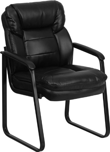 Flash Furniture Black Leather Executive Side Reception Chair with Lumbar Support and Sled Base by Flash Furniture
