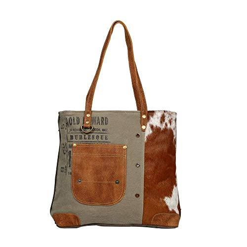 Myra Upcycled 1236 S Canvas Bag Pocket Tote Leather hQxBtdrsC