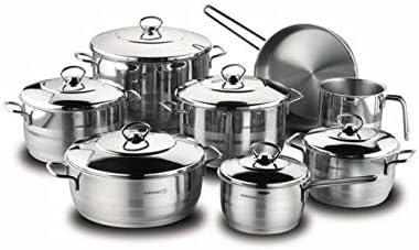 طقم أواني الطهي مع أغطية من 14 قطعة فضي Pot 14x14, Potx16x8, Pot 18x10, Pot 22x12, Pot 24x14, Pot 26x10, Pot 28x1, Pot 24x6سم