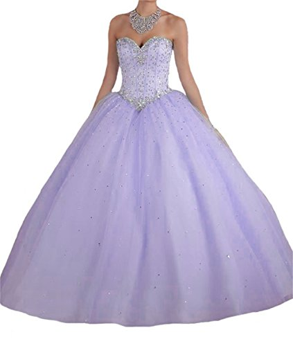 (BanZhang Quinceanera Dresses Lavender for Women Junior Beaded Sweet 16 Dress Prom Party Ball Gown B181 Lavender)