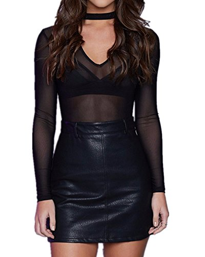 Mesh Choker (StyleDome Women Sexy Clubwear Choker Mesh Sheer Lone Sleeve V Neck See Through Tops Blouse Shirts Black US 4)