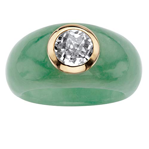 Solid 10K Yellow Gold Round Bead Genuine Green Jade and Genuine Topaz Ring
