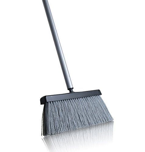 "Fuller Brush Deep Reach Black Slender Complete Broom – 11"" Sweeping Path - Gathers Large Debris & Fine Particles – Low Profile for Easy Reach - 48"