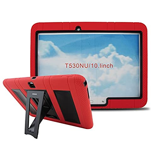 [iRHINO] TM Heavy Duty rugged impact Dual layer Hybrid Case cover with Build In Kickstand Protective Case For Samsung Tablet galaxy Tab 4 10.1 inch T530 (RED ON (Otter Box Galaxy Tablet 4)