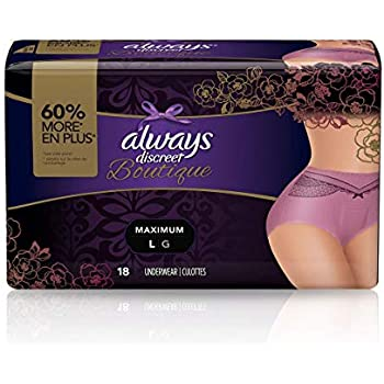 Always Discreet Boutique, Incontinence & Postpartum Underwear for Women, Disposable, Purple, Large, 18 Count, Pack of 2