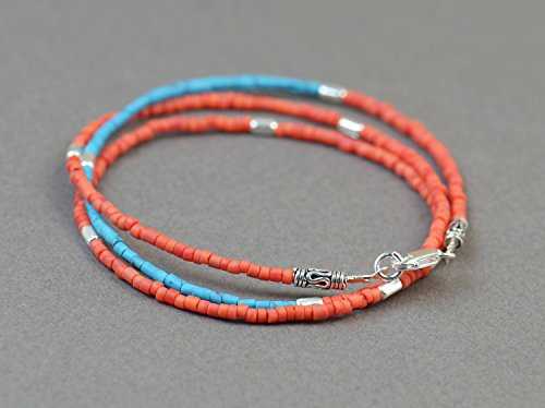 and turquoise seed bead and sterling silver beads bracelet/necklace.Dainty bracelet.Wrap ()
