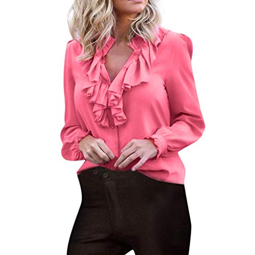 DORIC Women Casual Plus Size Fashion Ruffles V Neck Polyester Long Sleeve Plaid Solid Tops Full Blouse Pink ()