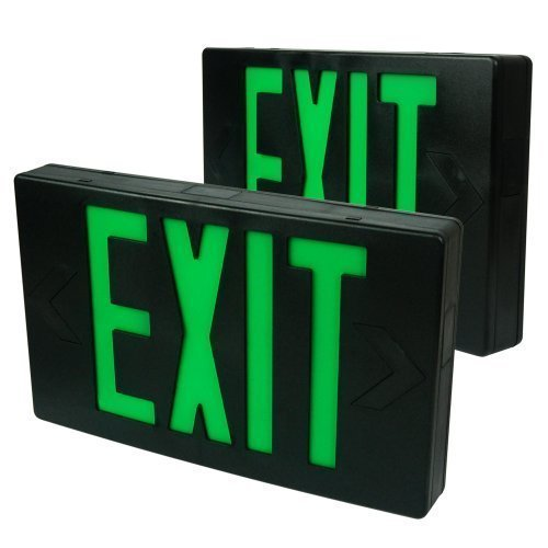 eTopLighting 2PCS Black Finished LED Green Emergency Exit...