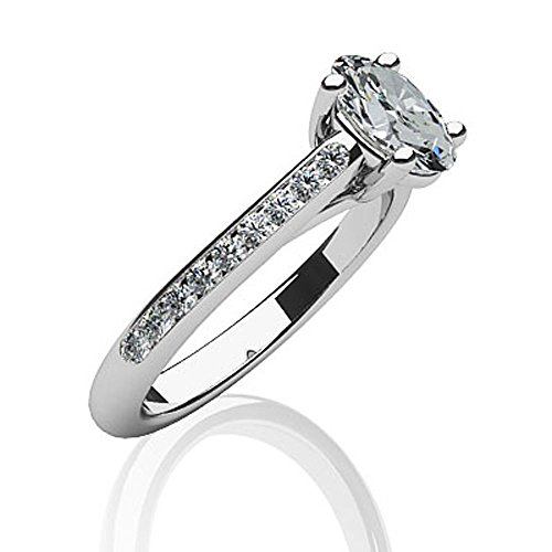 Or blanc 14K parée ovale diamants Bague de fiançailles