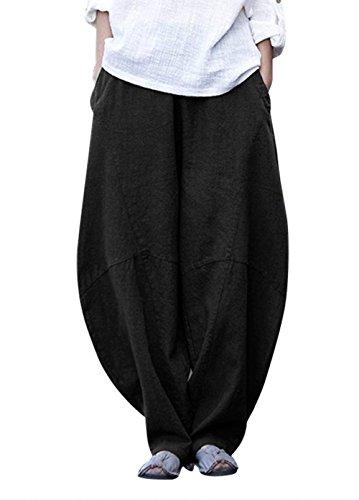Due Harem Dei Primaverile Forti Autunno Larghi Alessioy Tempo Taglie Nero Tasche Pantaloni Libero Baggychic Donna Pantalone Vita Alta Monocromo Casuale Con 65a5pw