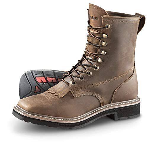 Guide Gear Men's Square Toe Lacer Work Boots, Brown, 10D (Medium)