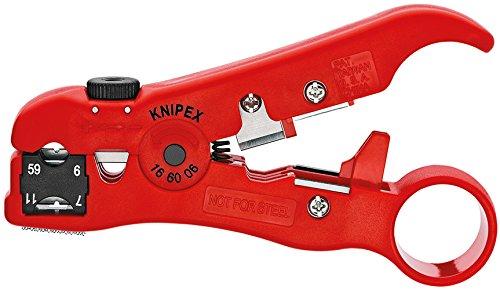 KNIPEX 16 60 06 SB Abisolierwerkzeug für Koax- und Datenkabel 125 mm (in SB-Verpackung)