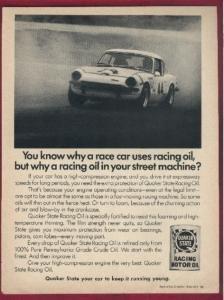 1971 TRIUMPH GT-6 COUPE in QUAKER STATE RACING OIL NON-COLOR AD - USA !! (Gt6 Racing Triumph)